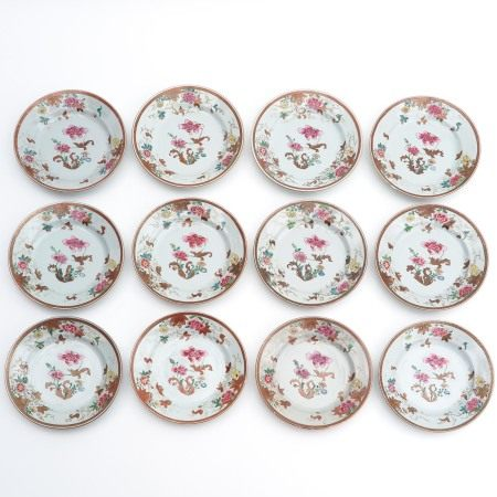 A Series of 12 Famille Rose Plates
