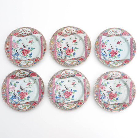 A Series of 6 Famille Rose Plates