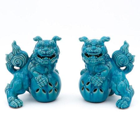 A Pair of Temple Lion Sculptures