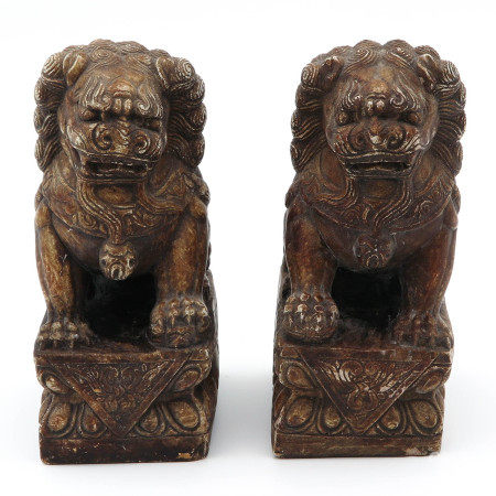A Pair of Temple Stone Lions