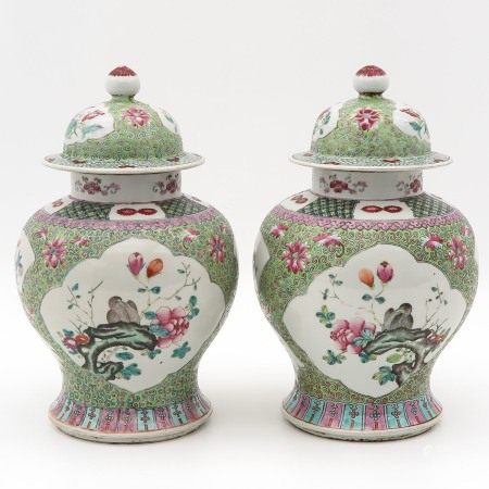 A Pair of Famille Rose Jars with Covers