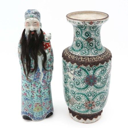 A Chinese Sculpture and Vase