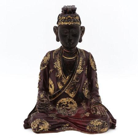 A Carved Wood Buddha