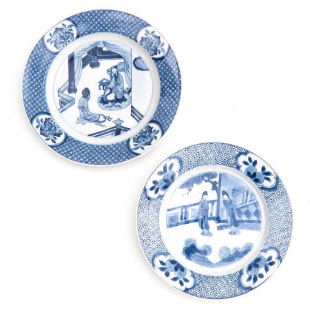 Two Blue and White Plates