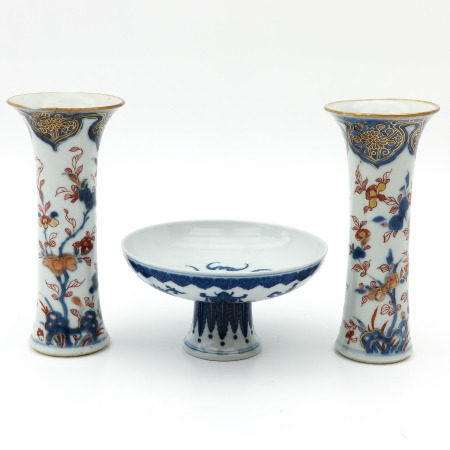 A Pair of Vases and Stem Bowl
