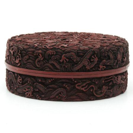 A Carved Cinnabar Box