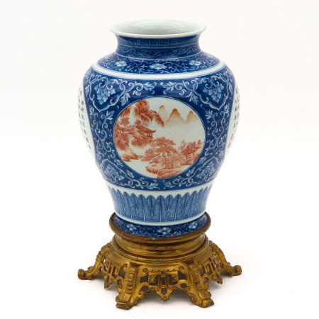 A Blue and Iron Red Decor Vase