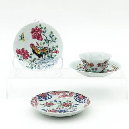A Famille Rose Cup and 3 Saucers
