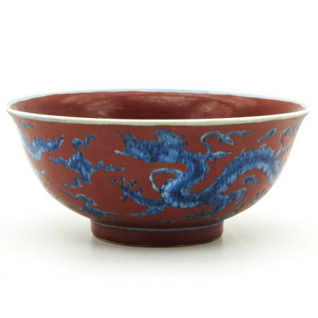 A Red and Blue Dragon Bowl