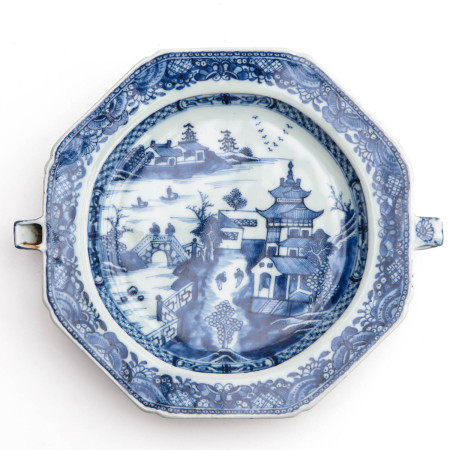 A Blue and White Warming Tray