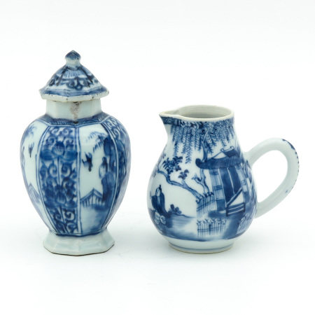 A Creamer and Vase with Cover