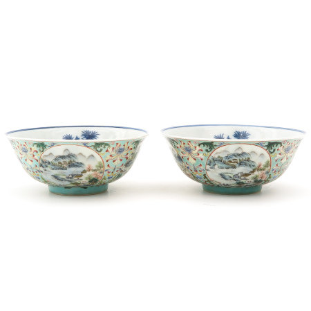 A Pair of Famille Rose Decor Bowls