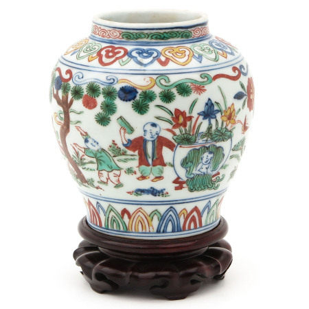 A Doucai Decor Vase on Wood Base