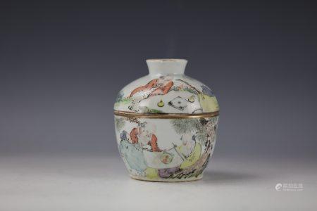 Shaoshan Qianjiangcai Figure Blue and White Porcelain Jar with Cover