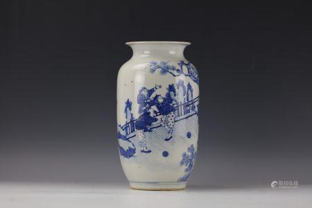 A Chinese Blue and White Figure-storied Porcelain Vase