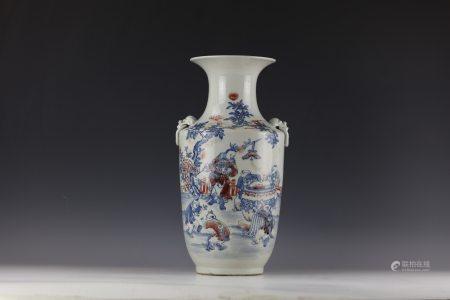 Blue White Underglazed-Red Figural Vase with Handles QianLong Mark