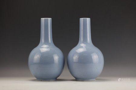 A Pair of Chinese Sky Blue Glazed Porcelain Vase