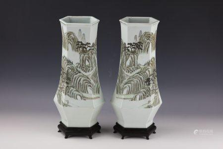 A Pair of Qianjiangcai Hexagon Shaped Landscape and Poetic Porcelain Vase with Base