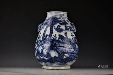 A Chinese Blue and White Deer Zun Vase with Deer Head Handles