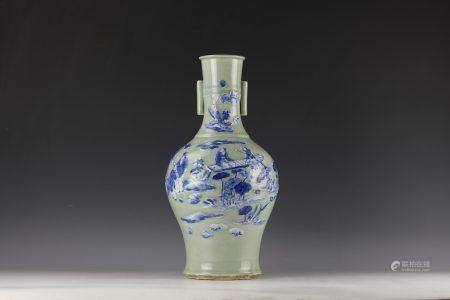A Chinese Blue and White Figure Lotus Porcelain Vase with Handles
