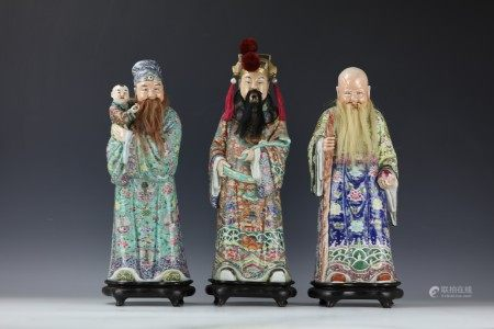 Three Chinese Famille Rose Porcelain Statues Fu Lu Shou