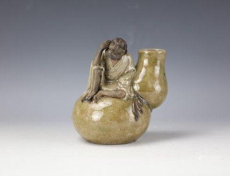 A Chinese Shiwan Pan YuShu Porcelain Statue Luo Han