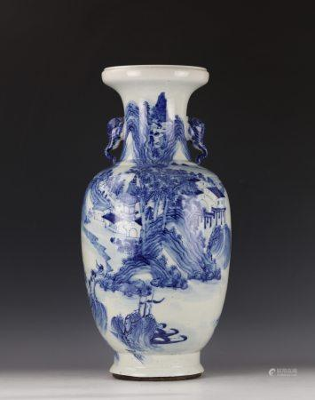 A Chinese Blue and White Landscape Figure Vase with Elephant Handles