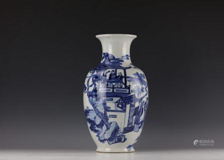 A Chinese Blue and White Figure and House Porcelain Vase