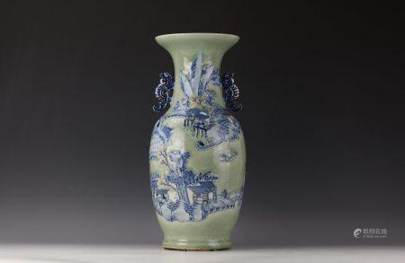 A Blue and White Relief Decoration Celadon Vase w Handle