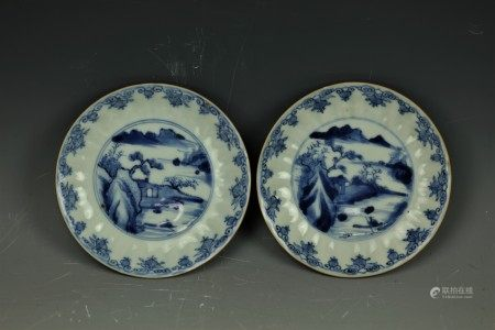 A Pair of Chinese 17th Century Blue and White Porcelain Dishes
