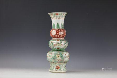 A Wucai Figure and Flower Trible-Gourd Shaped Porcelain Vase with Leaf Mark