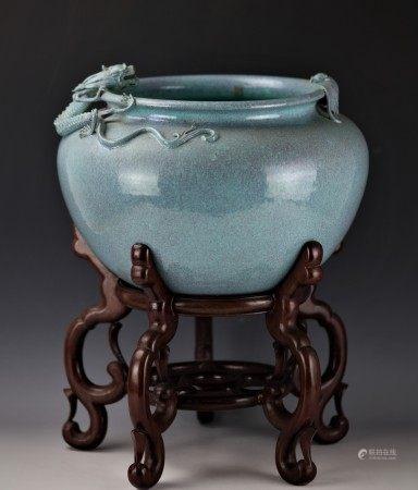 A Chinese Lujun Splash-Glazed Bat and Dragon Porcelain Pot with Base