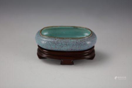A Chinese Splash-Glazed LuJunYou Porcelain Water Pot with Base