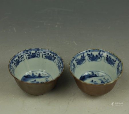 Two Chinese 17th Century Blue White Porcelain Cups Brown Outside