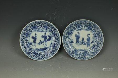 Two Chinese 17th Century Blue White Porcelain Dishes