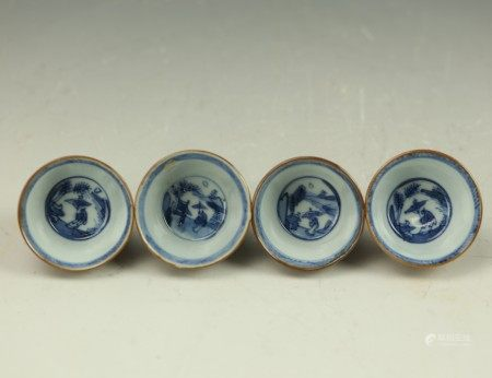 Four Chinese 17th Century Blue White Porcelain Cups