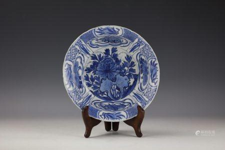 A Blue and White Porcelain Plate with Painting of Peony Flower and Rock.