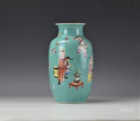 A Turquoise Green Ground Famille Rose Playing Children Vase with JiaQing Mark