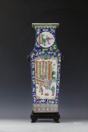 A Chinese Famille Rose Square Porcelain Big Vase