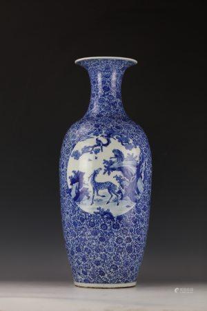 A Blue and White Fulvshouxi Porcelain Guanyin Vase