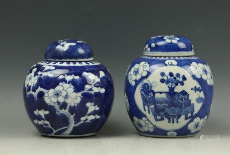Two Blue and White Ice Plum Flower Porcelain Ginger Jars with Lid