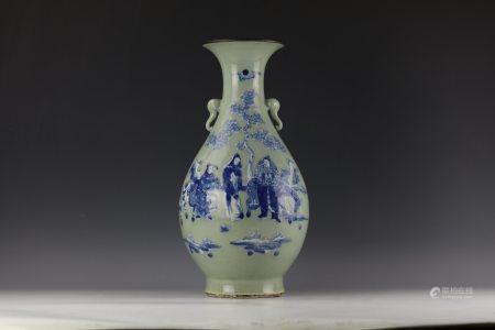 A Chinese Blue and White Figure-stories Porcelain Vase with elephant handles