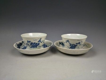 A Pair of Blue and White Eggshell Porcelain Tea Cups and Saucers