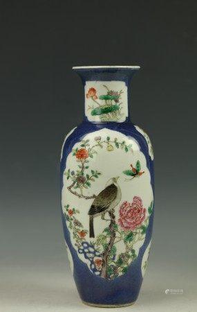 A Blue Background Famille Rose Porcelain Vase Marked Kangxi