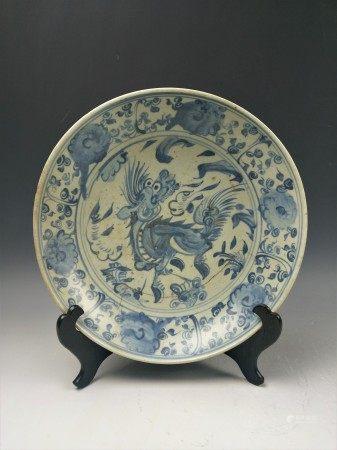A Chinese Antique Blue and White Kirin Qilin Porcelain Dish