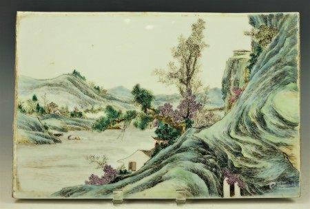 A Chinese Landscape Porcelain Tile With YiShunLongZao