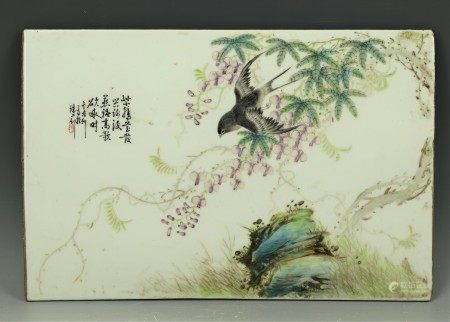 A Signed Jinguxuan Porcelain Plaque Painting Bird and Flowers With a Calligraphy Poem