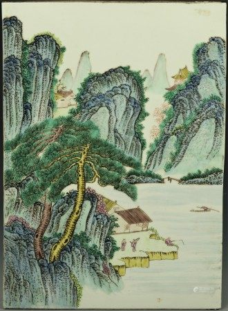 A Chinese Traditional Landscape Painting Porcelain Plaque