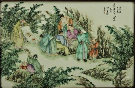 Framed Chinese Porcelain Plaque Figure-stories and Zhenzifan Calligraphy