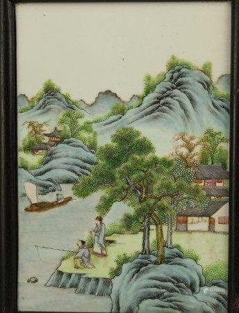 Framed Chinese Porcelain Plaque Figure and Landscape